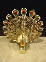 Rare Beautiful Vintage Golden Brass Peacock Figurine About 10.5 inches
