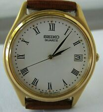 Seiko 7N42 Quartz Date Watch with New Leather Bracelet