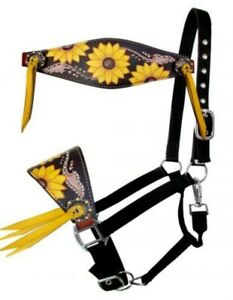 Showman Hand Painted SUNFLOWERS Bronc Halter! NEW HORSE TACK!
