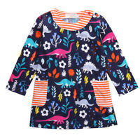 NWT Dinosaur Girls Blue Long Sleeve Dress  2T 3T 4T 5T 6