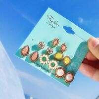 Fashion 6 Pairs/Set Pearl Crystal Flower Stud Boho Earrings Women Party Jewelry