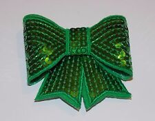 Green 3D sequin bow hotfix iron on Motif patch Lace xmas costume Applique