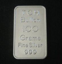 100 GRAM SILVER BAR VERY RARE TCH BULLION