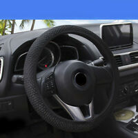 Black Anti-slip Durable 15''/38cm Car Steering Wheel Cover Microfiber Breathable