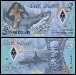 Cook Islands 3 Dollars, (2021), ZA Replacement, Polymer, UNC