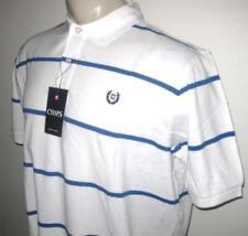NEW 3XLT CHAPS MENS POLO SHIRT White Blue Striped Short Sleeve 3XT XXXLT 3X TALL