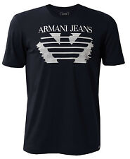 Genuine Armani Jeans Logo T-shirt 6YT66 6JPFZ Navy Blue Medium