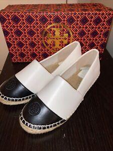 Tory Burch  Espadrille Flat Shoes Size: 6 M Black/white