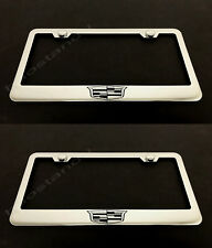 2x CadillacCrest LOGO STAINLESS Chrome License Plate Frame w/screw Caps