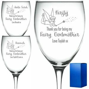 Personalised Engraved Wine Glass Fairy Godmother christening gift tinkerbell ..