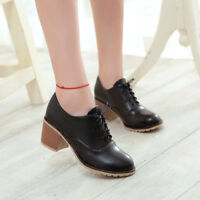 Women's Soild Chunky Block Low Heels Ankle Boots Casual Lace up Shoes Size 8 New