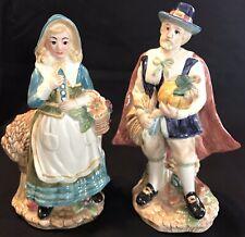 Mint Fitz & Floyd Harvest Heritage Pilgrims Salt & Pepper In Box forThanksgiving