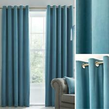 Duck Egg Eyelet Curtains Blackout Velvet Heavy Ready Made Ring Top Curtain Pairs
