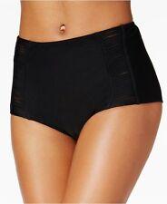 Hula Honey High Waist Lattice Strappy Cutout Bikini Bottom M LINED Black