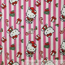 BonEful Fabric Cotton Flannel Quilt White Pink Red HELLO KITTY Candy Cane SCRAP