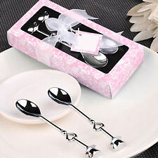 Pair Silver Stainless Steel Coffee Tea Spoons Heart Shaped Party Favor Gift CHIC