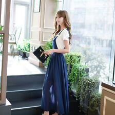 Women Korean Chiffon Dress Fashion Summer Suspender Skirt A-Line Pure Color