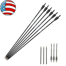 Usa 6pcs 30'' Carbon Arrows Spine 500 Archery Recurve Compound Bow Hunting