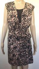 Jacqui-E Dress Size 12 Coral Black Wrap Style Midi Stretch Sleeveless