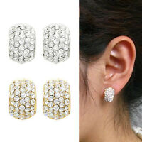 Non-Pierced Sparkly Small C Shaped Crystal Diamante Stud Style CLIP ON Earrings