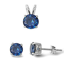 Round Sapphire .925 Sterling Silver Pendant & Earrings Set