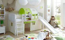 Lit mezzanine avec toboggan EKKI Pin massif teinté blanc tissus Beige-Vert