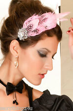 PINK & PEARL FEATHERS   & JEWELS  Hair Band Style FACINATOR