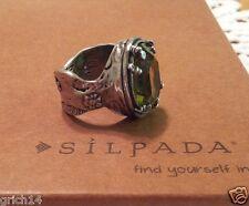 SILPADA OXIDIZED STERLING SILVER & OLIVINE SWAROVSKI CRYSTAL RING SIZE 8 R1883