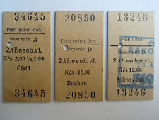 Edmondson Rail Train Tickets 3x Rakovník Czechoslovakia ČSD Railway 1985-1993