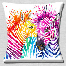 "Two Whispering Zebra 16""x16"" 40cm Cushion Cover Bright Multicolours on White"