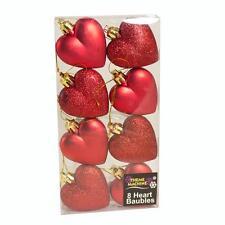 Weihnachtsdekoration 8-pack 50mm Glitzer / Uni Hearts - Rot