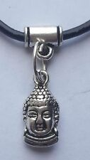THAI BUDDHA CHARM ON 2MM  BLACK LEATHER CHOKER  CHARM NECKLACE. 14 INCHES