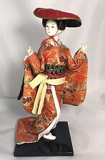 "Porcelain 12"" Geisha Japanese Doll Glass Eyes Silk Kimono Black Stand Japan"