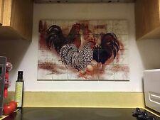 "Hangable Tile Mural  / Kitchen Backsplash / Kitchen Art / Rooster Art 17""x25.5"""