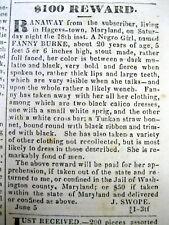 1839 Hagerstown Maryland newspaper with a Runaway Female Slave $100 reward Ad