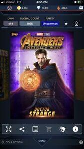 topps marvel collect Avengers Infinity War Identity Purple Doctor Strange