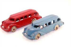 2pc Old 1930s Cast Iron Bus Lot White Rubber Tires