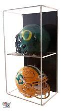 Acrylic Wall Mount Vertical Double Mini Helmet Display Case UV Protect GameDay