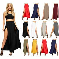 Ladies Gypsy Maxi Side Cut Out Womens Plain Girl Split Slit Long Skirt Size 8-14