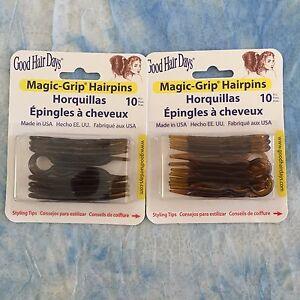 """(2) Packs Magic Grip Hairpins  2 1/2""""  (20) pcs.- Shell Brown by Good Hair Days"""