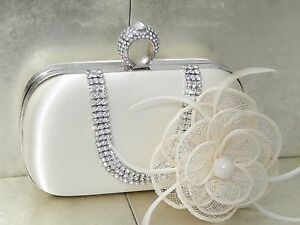Ivory Clutch Bag and Fascinator Set Occasion Wedding Prom Ladies Day Races UK