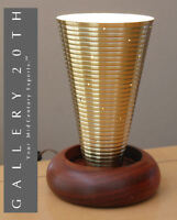 GOOD DESIGN! TEAK & BRASS  MID CENTURY DANISH MODERN ACCENT LAMP! RARE 1950S VTG