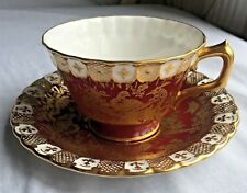Royal Crown Derby Red Gold Aves Teacup Tea Cup Saucer Birds