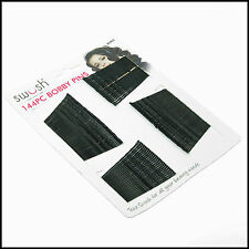 144  Black Flat Top Bobby Pins Grips Hair Clips   pin 4.5 cm long FROM SYDNEY