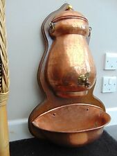 VINTAGE FRENCH COPPER LAVABO FOUNTAIN GARDEN BASIN ON WOODEN BACK BOARD