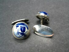 Vintage Rare DELFT CUFFLINKS 835 Silver Dutch Delftware WINDMILL - Marked GBS