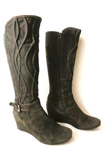 NAPOLEONI EUR 40 US 9M Green Suede Leather Hidden Wedge Tall Boots ITALY