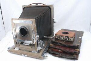 Wood Wooden 4 3/4 x 6 1/2 Field Camera Body w/3 Plate Holder Shutter *FJ397