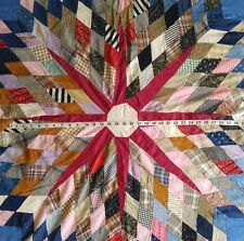 """Vintage 1930s Baldwin Family QUILT STAR TOP with Antique Fabrics 71"""" x 78"""""""