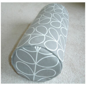 "16""x6"" Round Bolster Lumbar Cushion Cover Orla Kiely Linear Stem Silver Grey"